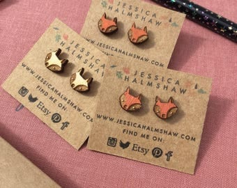Fox Stud Earrings - Silver Plated Backs and Wood - Colourful and Cute - woodland animal - natural wood - gifts under 10