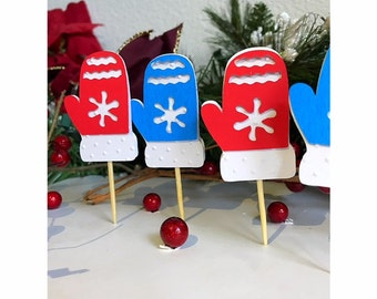 Christmas Cupcake Toppers, Mitten Cupcake Toppers, Christmas Party Toppers, Holiday Cupcake Toppers,