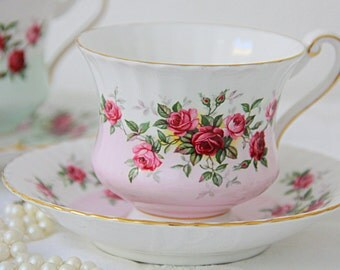 Vintage Paragon Bone China Gentleman Size Cup and Saucer, White and Soft Pink, Red and Pink Roses Decor, England, Numbered