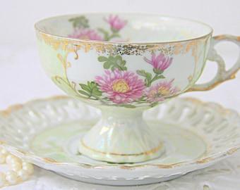 Elegant Footed Porcelain Cup and Saucer,Pink  Flower Decor, Lustreware