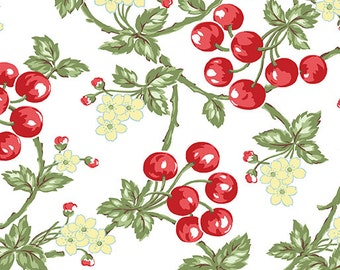 Simply Chic - Cherries on White - Sold by the Half Yard