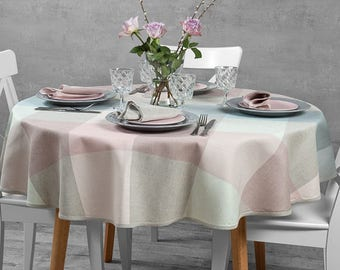 Wonderful Linen Oval, Round Tablecloth, Pastle Colors Tablecloth, Pink, Green, Grey  Linen