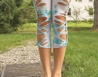 Baby blue dyed leggings