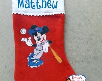 Chicago Cubs Baseball Mickey Stocking,Mickey Christmas Stocking,Chicago Cubs Christmas Stocking,Christmas Mickey Stocking,Chicago Cubs.
