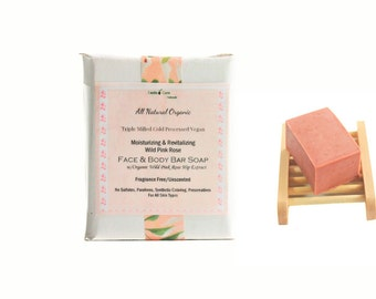 Fragrance Free  Rose Bar Soap with French Spa Clay, Soap for Face & Body, All Natural Skin Softening Moisturizing Vegan Soap, Non Drying