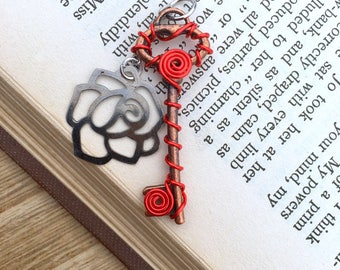 Mini Rose Wire Wrapped Key, Fantasy Key Necklace, Skeleton Key Jewelry, Key Jewelry for Her