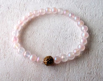 Rose Aura Quartz Bracelet, Pink Quartz Crystal Healing Bracelet, Healing Jewelry - Rose Aura Quartz, Unconditional Love