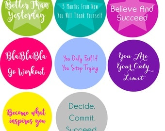 Motivational labels, workout labels , personal trainer labels, work out stickers