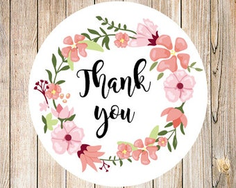 Thank you stickers,flower thank you labels, custom labels, custom stickers,personalized labels, matte labels,packaging labels,product labels