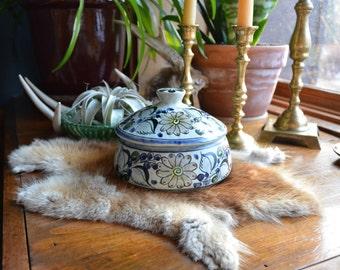 Vintage Tonala Mexican Pottery | Mexican Covered Dish | Ethnic Tribal Southwestern BOHO Bohemian Decor