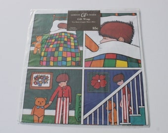 Vintage Gordon Fraser Gift Wrap, Cute Kids Wrapping, 2 Sheets, Scrap Booking Crafts