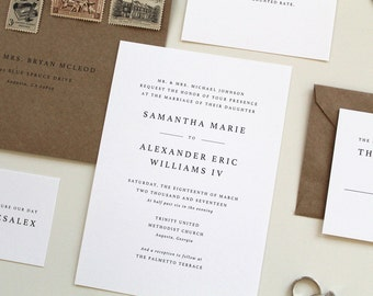 Custom wedding stationery design by tiedandtwo on etsy simple wedding invitations modern wedding invitation design simple modern wedding invites serif font stopboris Choice Image