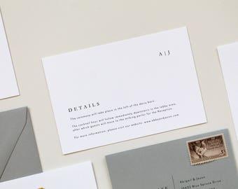 Wedding Details Card, Modern Wedding Information Card, Simple Details Card, Wedding Insert, Custom Information Card, Simple Wedding Insert