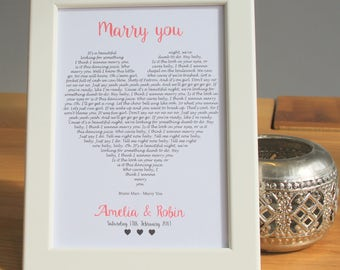 Personalised Our Song First Dance Lyrics Heart Wedding Gift Couples Anniversary