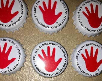 Left Hand Brewing Co 6 used bottle caps