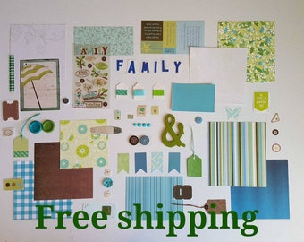 Free shipping. Family theme kit. Junk journal. Mixed media. Scrapbook. Art journal kit.