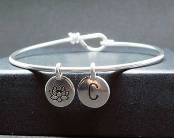 Lotus silver plated bangle bracelet with initial, lotus bracelet, lotus gift