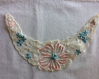 New Vintage Embroidered Off White, Pink, and Blue One Piece Lace Collar or Placket with Flower Design - Upcycle Repurpose