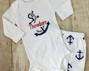 Boys anchor outfit etsy baby boy anchor outfit personalized anchor baby onesie nautical baby bodysuit baby shower negle Gallery