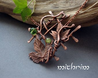 Rustic country style pendant Green glass beads Rustic necklace Bohemian jewelry Leaf pendant Botanical jewelry necklace Electroformed leaves