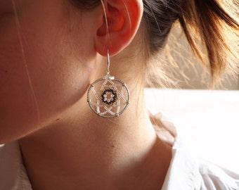 Creole earrings, silver gray gem, earrings catches dream, dreamcatcher, ethnic style, Bohemian, Miyuki, Swarovski.