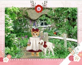 """An art card inspired by my graphic print """"Mary Had A Little Lamb"""", Paper and Party Supplies, Paper, Stationery, Note Cards, Greeting Card"""