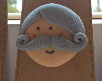 Moustache Man Silver Fox Fimo Brooch