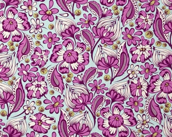 Tula Pink Chipper Wild Vines Raspberry; 1/2 yard cotton woven fabric