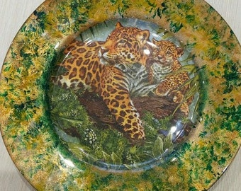Round Glass Decoupage Plate, African style Plate, Plate in Decoupage technique, Animal Plate