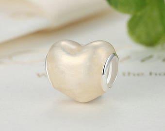 Sterling 925 silver charm shine love bead pendant fits Pandora charm and European charm bracelet