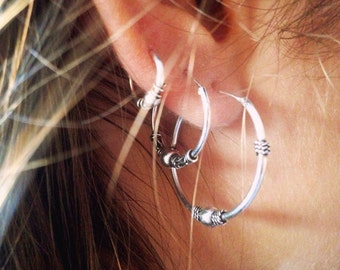 Bali Hoop Earrings, Sterling Silver Hoops,For her
