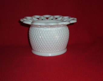 Vintage White Milk Glass Candy Dish Lattice Laced Edge Bowl. IG Imperial Glass Vase.Dish