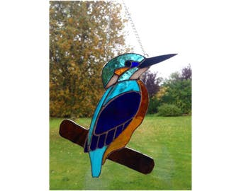 Stained Glass Kingfisher Suncatcher decoration