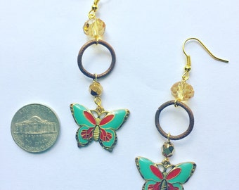 90s butterfly earrings upcycled with genuine topaz
