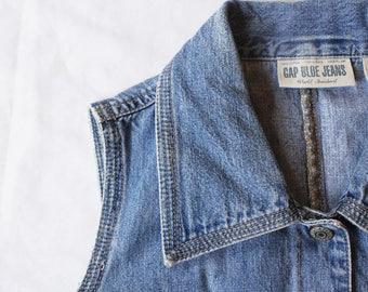 Women's Vintage Denim Vest | 1990s Gap Blue Jean Vest | Button-Down Jean Tank Top