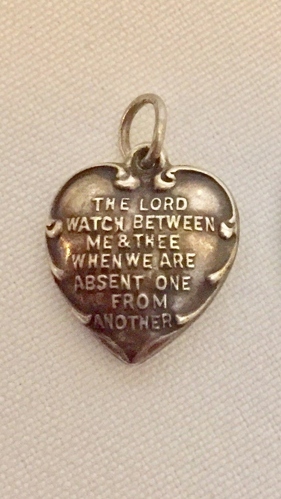 FREE SHIPPING-Vintage-1940's-Sterling Silver-Lords Prayer-Puffy Heart-Charm