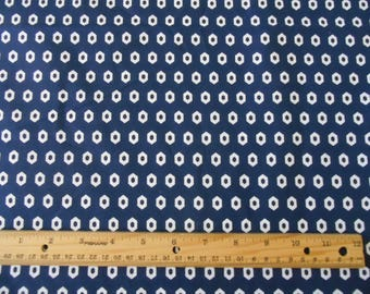 Navy blue white hexagon circles cotton fabric by the yard