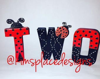 Ladybug birthday Party, Lady Bug Letters, Paper Mache Letters, Hand Painted Letters, Ladybug, Personalized Name Letter Set, TWO letter set