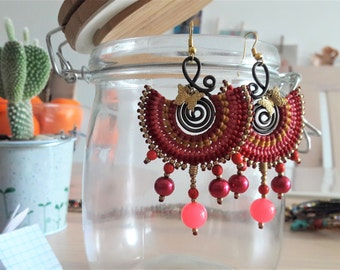 Pink Earrings, Macrame Earrings, Fuschia Jewelry, Dangle Earrings, Thai Earrings, Gift Her, Tribal Earrings, Boho Earrings, Shocking Pink