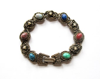 Vintage Colorful Agate Stone Link Bracelet with Faux Pearl