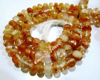 "Top Quality Genuine Gloss Quartz / Rutilated Quartz 7-8mm Size Beads , Rondelle Faceted Natural Gemstone Beads , Length 10"" , Micro Faceted"