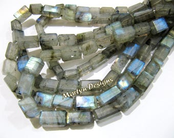 "Top Quality Long Box Labradorite Beads, Natural Blue Flashy Labradorite Beads, 7x12mm to 8x14mm Size Beads, Length 13"" long, Laser cut Beads"