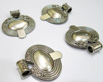 Antique Silver Oxidize Designer Handmade Fancy Shape Metal Charm Pendant , 40x45mm Silver Spacer Handcarved Pendant , Sold per Piece.