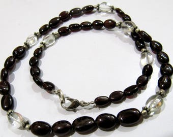 AAA Quality Natural Garnet and Green Amethyst Beads Necklace , Silver Oxidize Finding , Handmade Beaded Necklace 16-17 inch long