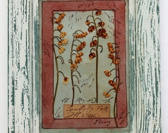 Rustic frame, Herbarium, pressed flower art, 8x6 inches (20,5x15,5 cm's)  Pressed Plants, dried herbs frame, antique plant stand, botanic