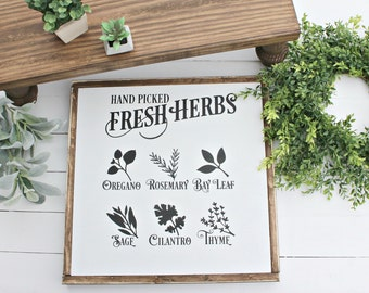 Hand Picked Fresh Herbs Wood Sign,farmhouse sign,framed signs,home decor,sign,modern farmhouse,Home and Living, Wall Decor,Shiplap