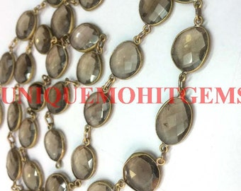 3 feet natural smoky quartz 10-15mm uneven oval faceted link chain