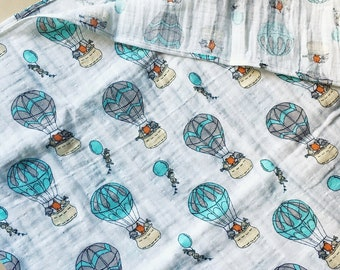 Balloon muslin swaddle blanket, swaddle blanket, muslin swaddle blanket, printed swaddle blanket
