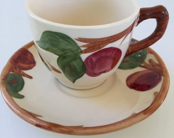 "Franciscan ""Apple"" Tea Cups And Saucers-14 Piece set- Made In England"