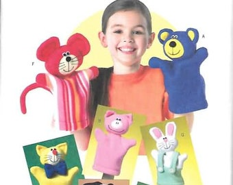 Hand Puppets, Bear, Pig, Cat, Dog and More New Butterick Patttern 4209